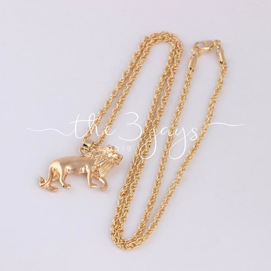 New Golden Lion Necklaces Gold Chain Choker Head