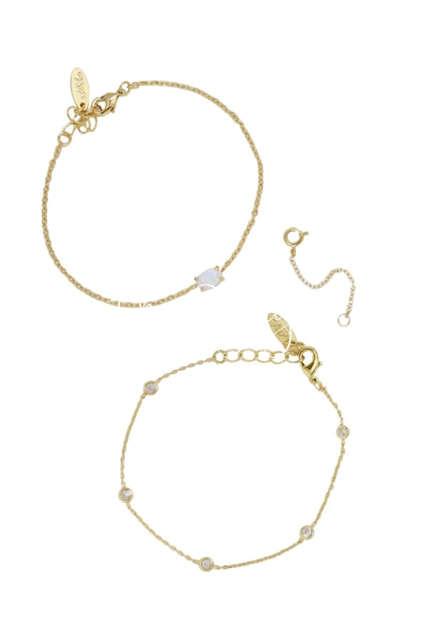 Opal & Crystal Dainty Chain Bracelet Set With Bracelets