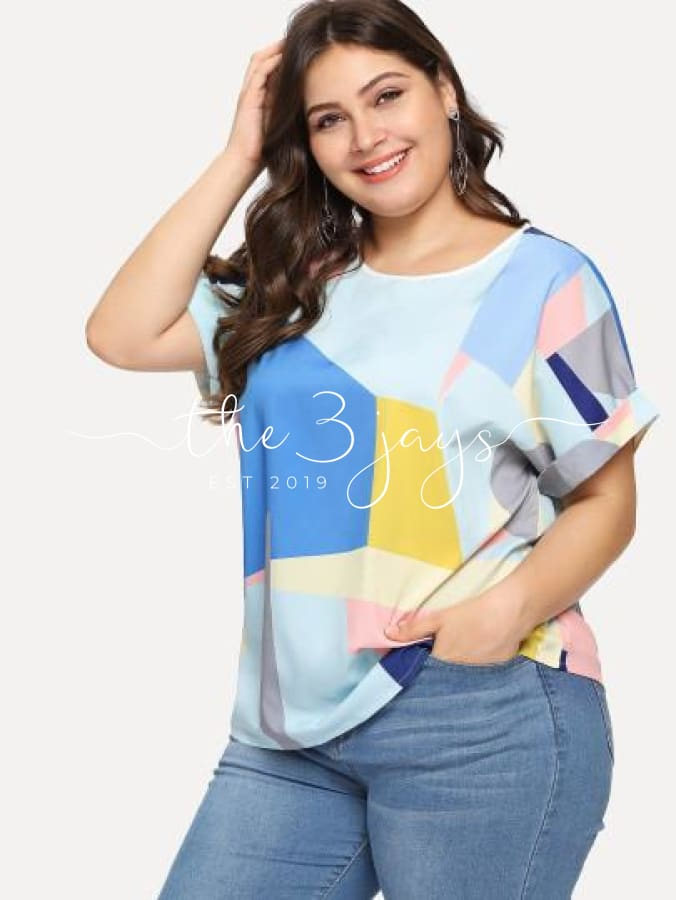 Plus Patchwork Roll Up Sleeve Blouse Tops & Blouses