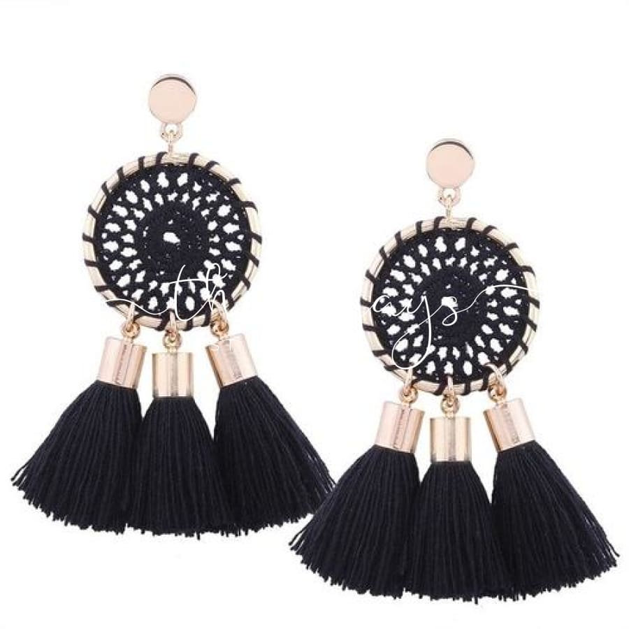Shining Long Tassel Clear Crystal Black Earrings