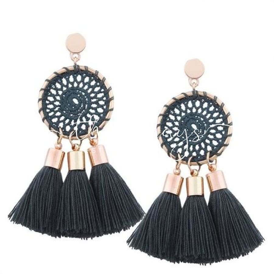 Shining Long Tassel Clear Crystal Green Earrings
