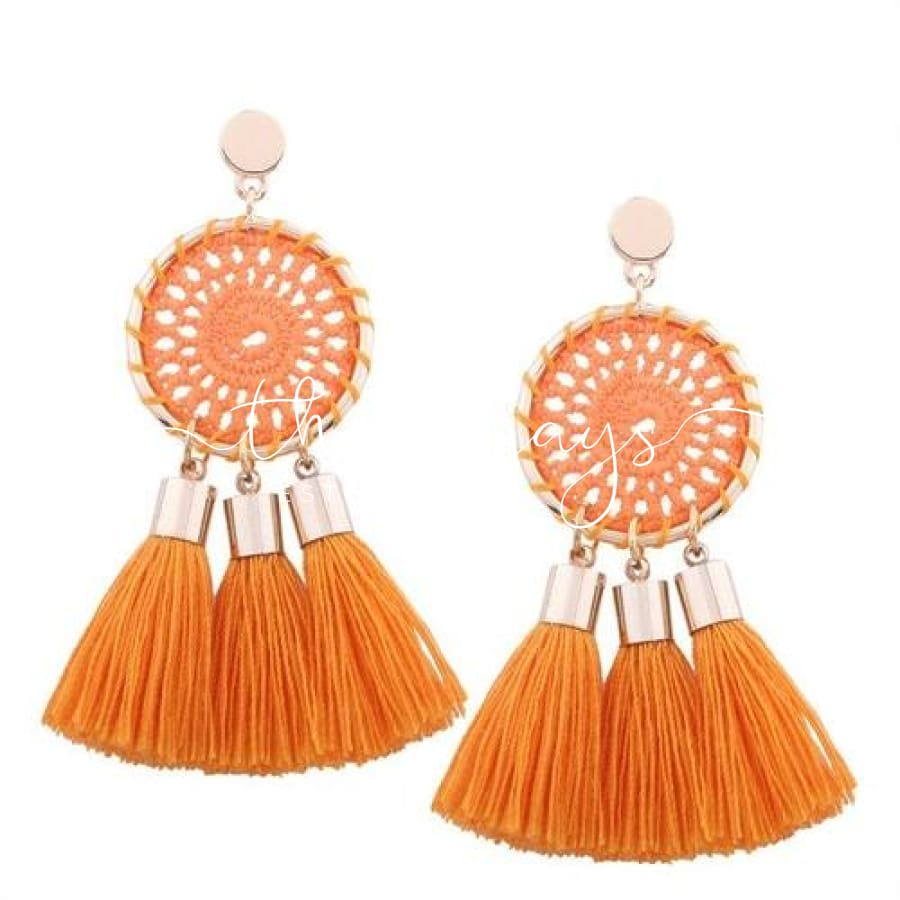 Shining Long Tassel Clear Crystal Orange Earrings