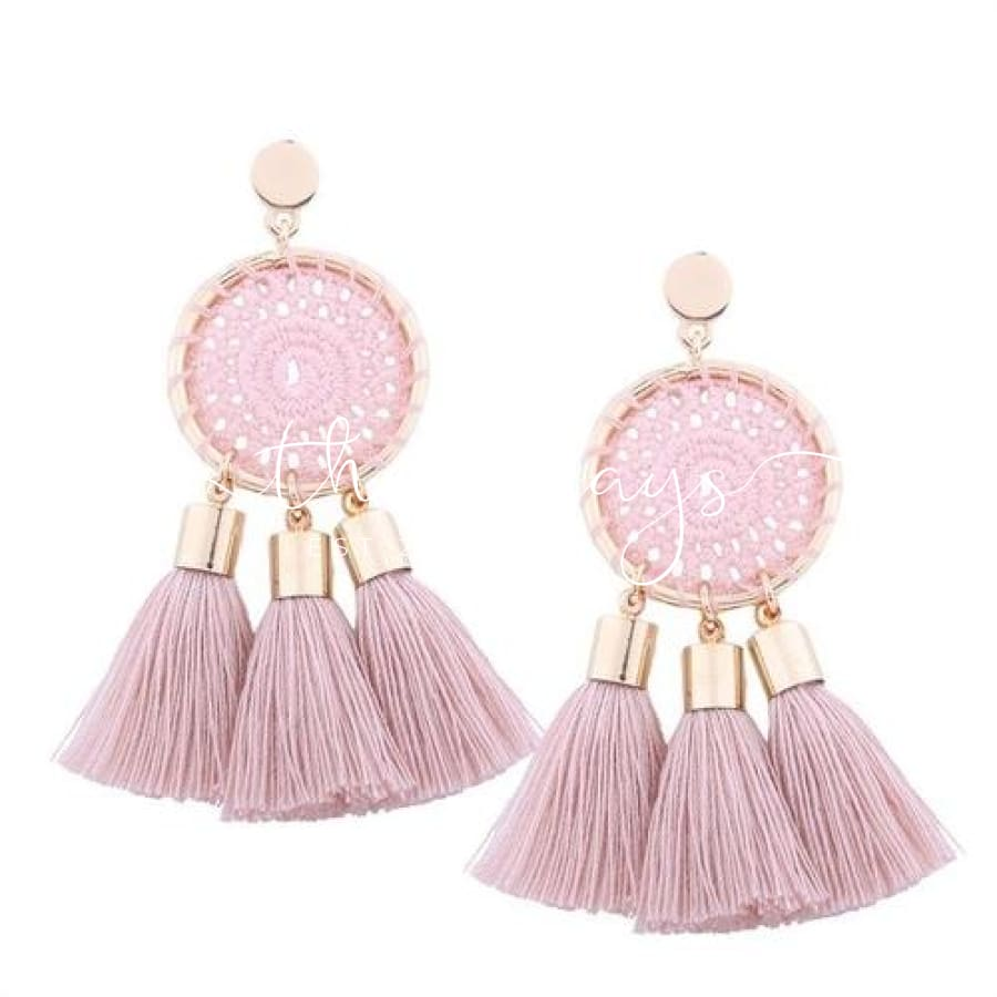 Shining Long Tassel Clear Crystal Pink Earrings