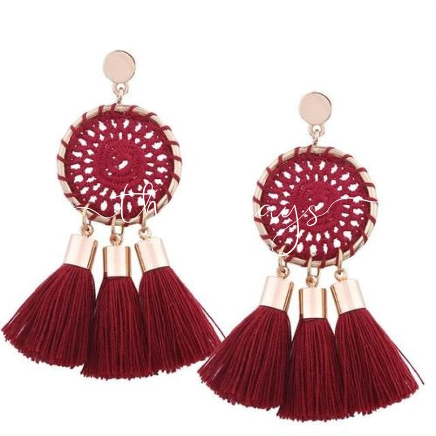 Shining Long Tassel Clear Crystal Red Earrings