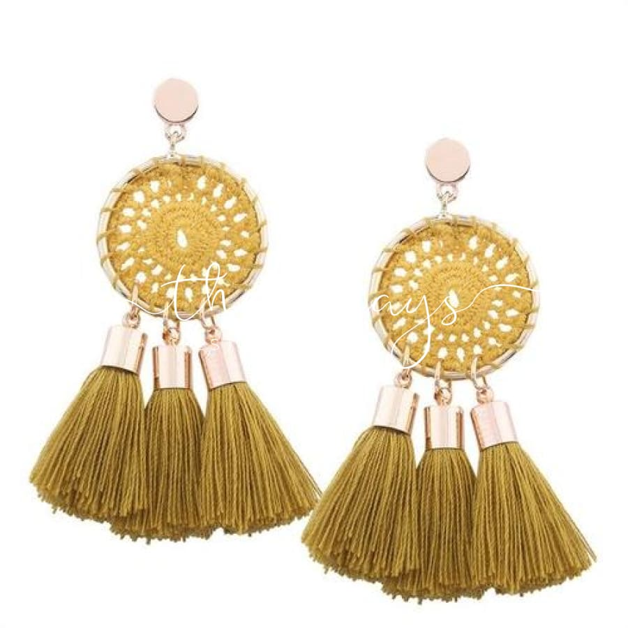 Shining Long Tassel Clear Crystal Yellow Earrings