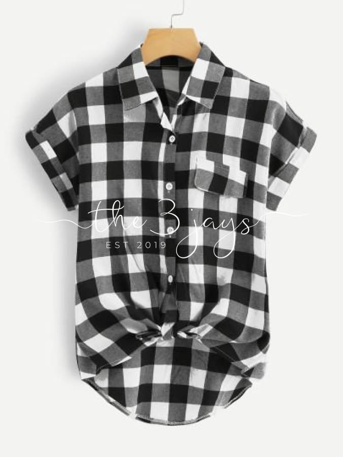Single Breasted Plaid Knot Hem Shirt Tops & Blouses