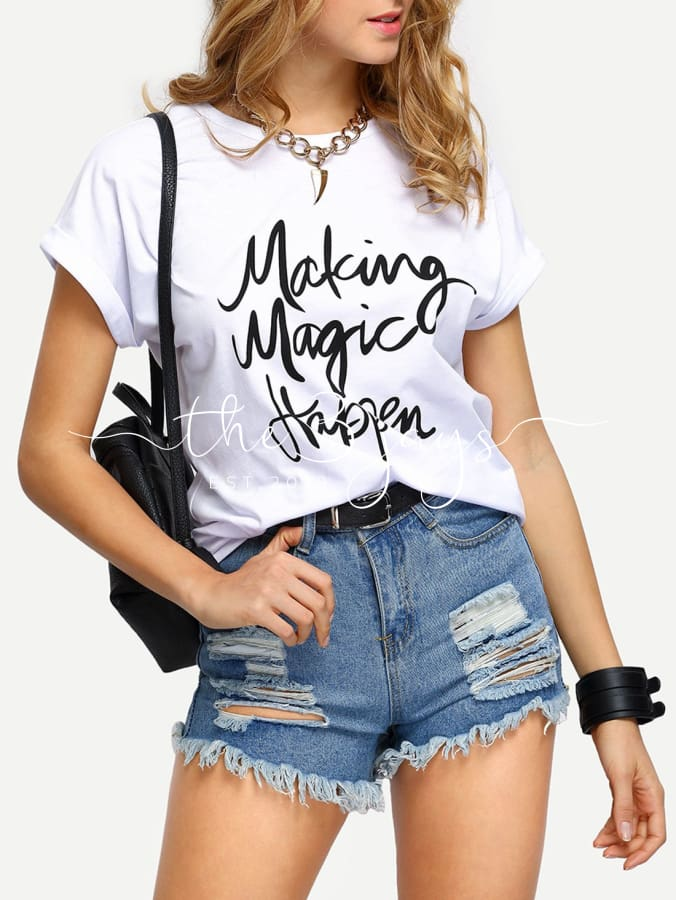 White Letters Print Cuffed T-Shirt T-Shirts