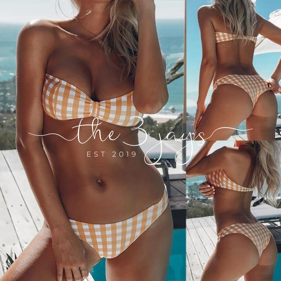 Women Bikini Set Swimwear Push-Up Padded Plaid Off