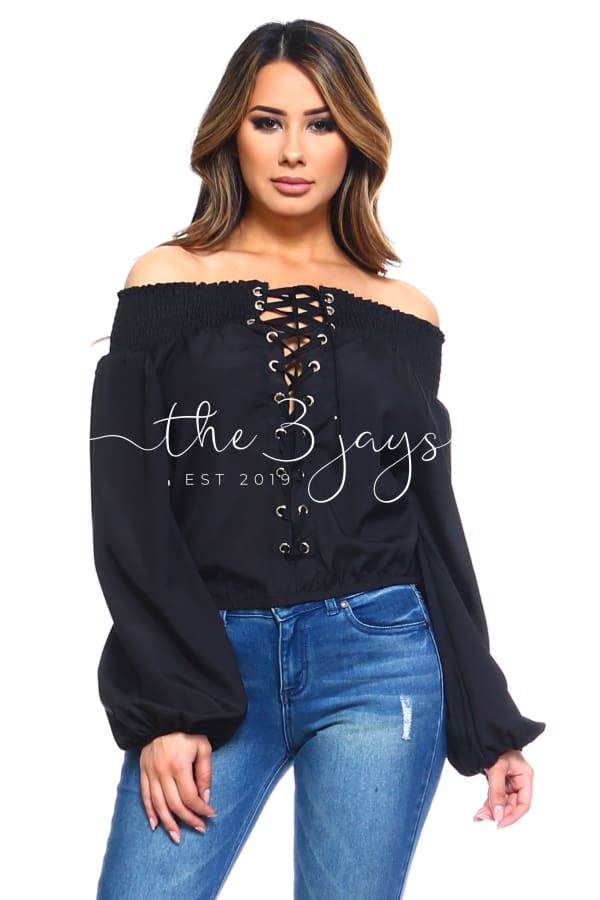 Womens Lace-Up Off Shoulder Elastic Blouse Tops & Blouses