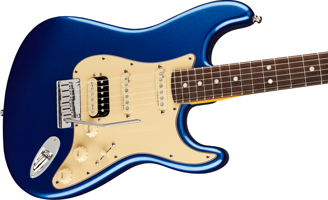 Fender American Ultra Stratocaster HSS Rosewood Fingerboard Cobra Blue Electric Guitar With Case
