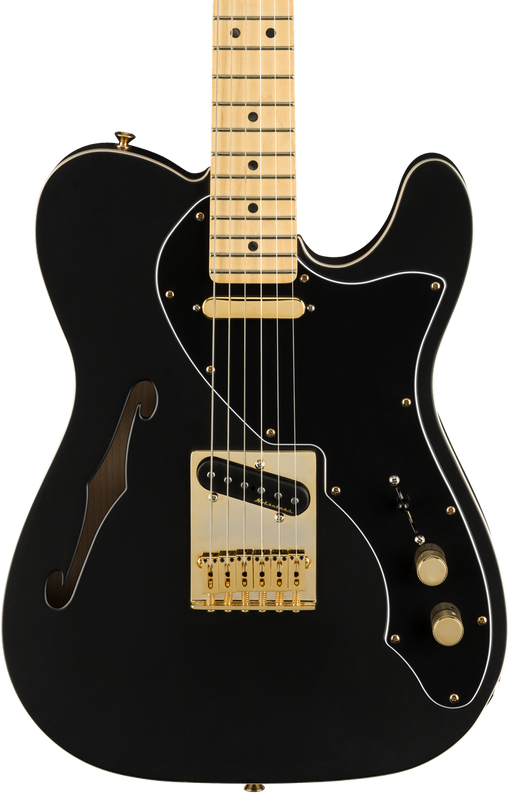 Fender Limited Edition Deluxe Telecaster Thinline Satin Black Gold Hardware w/ Bag