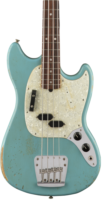 Fender Justin Meldal-Johnsen Road Worn Mustang Bass - Faded Daphne Blue with Bag