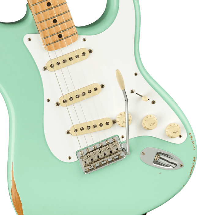 Fender Vintera Road Worn '50s Stratocaster Maple Fingerboard Surf Green Electric Guitar With Bag