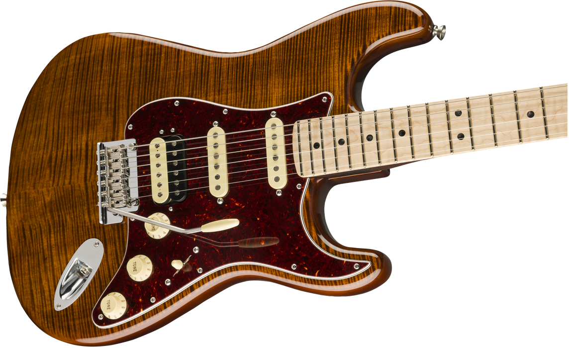 Fender Rarities Stratocaster Golden Brown Flame Maple Top Rosewood Neck Maple Fingerboard