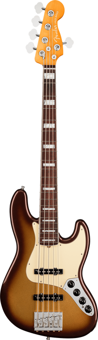 Fender American Ultra Jazz Bass V Rosewood Fingerboard Mocha Burst Electric Bass With Case