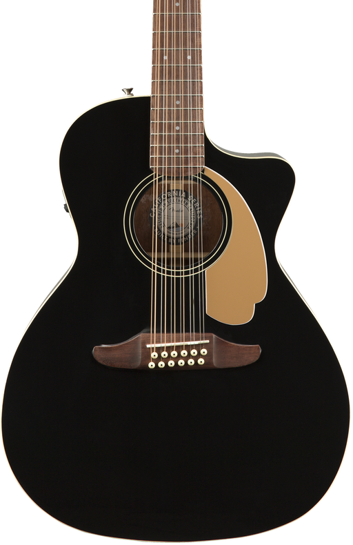 Fender Villager 12-String Walnut Fingerboard Acoustic Electric Black V3 With Gig Bag