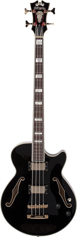 D'Angelico Excel EX-Bass Black Electric Bass Guitar With OHSC