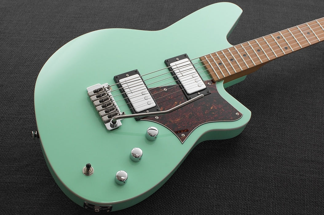 Reverend Descent W Roasted Maple Neck Baritone Electric Guitar Oceanside Green
