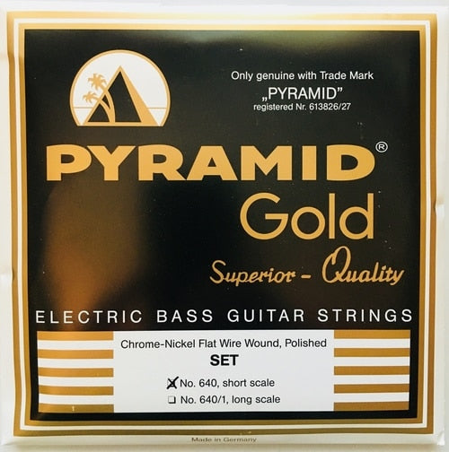 Pyramid Gold Chrome Nickel Flatwound Polished No. 640 40-100 Short Scale Bass Strings