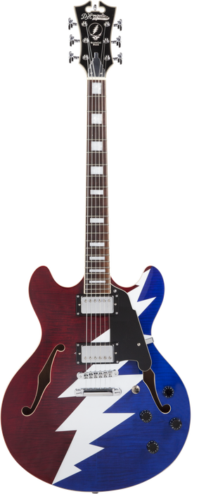 D'Angelico Premier Series DC Grateful Dead Semi-Hollow Electric Guitar Red, White, and Blue Lightning Bolt