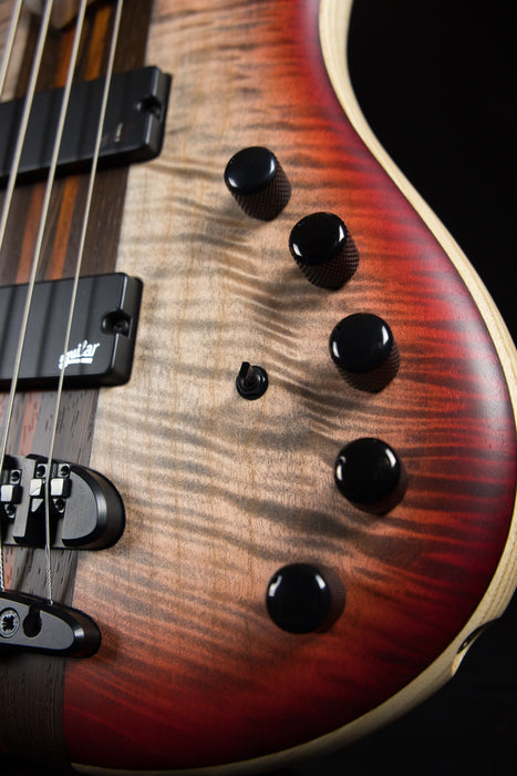 Mayones Patriot Classic 4 Flame Top 4 String Bass Guitar Transparent Jeans Black 3-Tone Red Burst