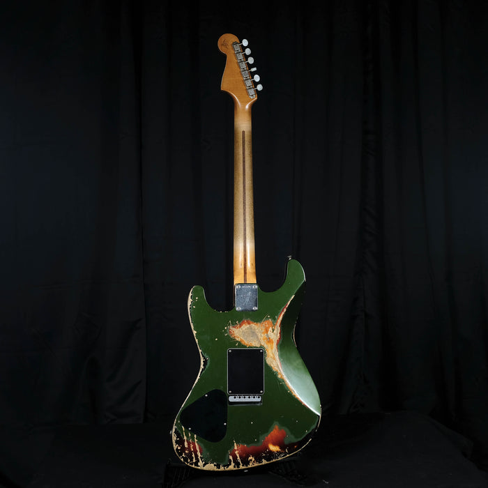 Fender Custom Shop Masterbuilt Carlos Lopez Heavy Relic Offset Subsonic Baritone Stratocaster Aged Cadillac Green Over Sunburst