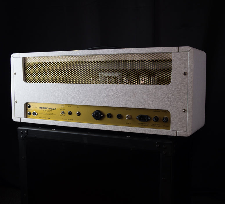 Used Metropoulos MP100 White Tube Guitar Amplifier Head with Footswitch
