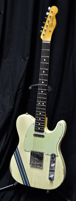 Pre Owned '17 Fender Custom Shop Masterbuilt Greg Fessler 1963 Relic Telecaster  Vintage White Blue Stripes w/ OHSC