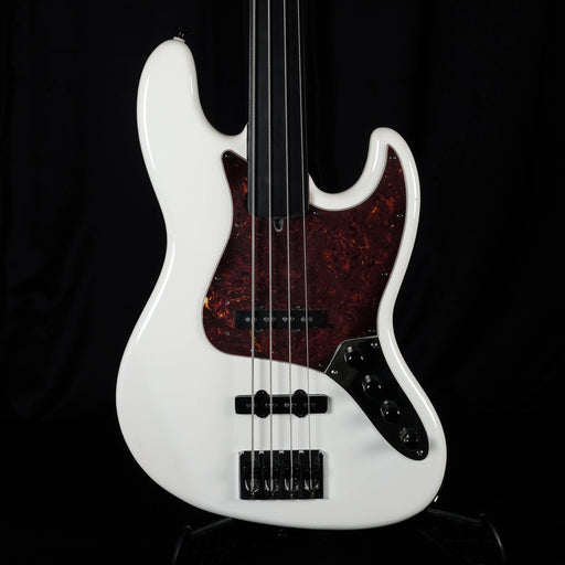Used Warrior Fretless Bass Olympic White J Bass Set Up With Upgrades