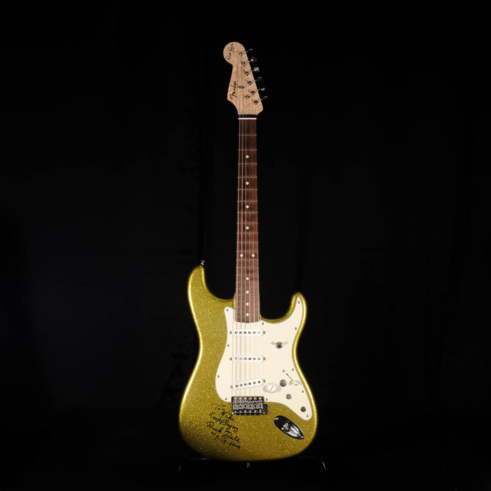 Pre Owned 07 Fender Custom Shop Signed Dick Dale Chartreuse Sparkle Stratocaster