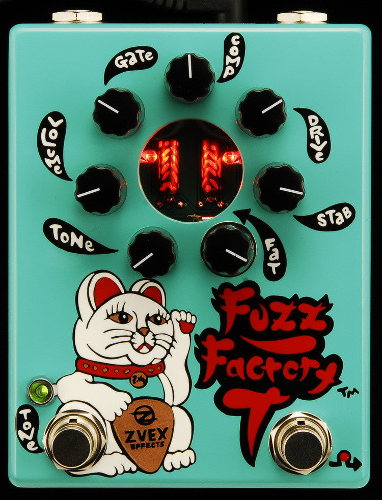 Zvex USA Made Handpainted Fuzz Factory 7 Fuzz Guitar Pedal Teal
