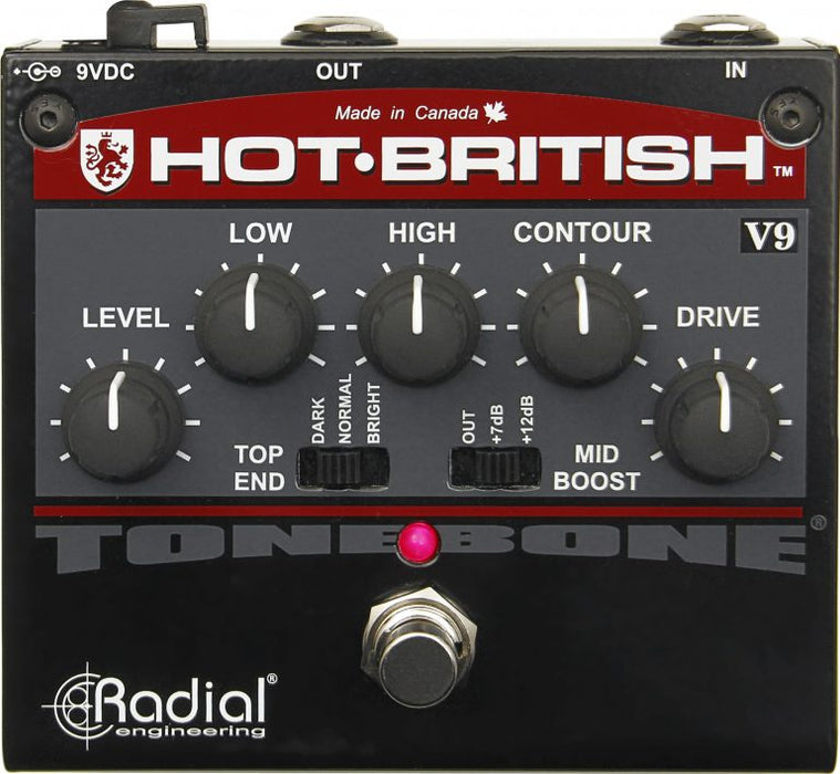 Radial Tonebone Hot British V9 High-gain Plexi-style Distortion Pedal with EQ