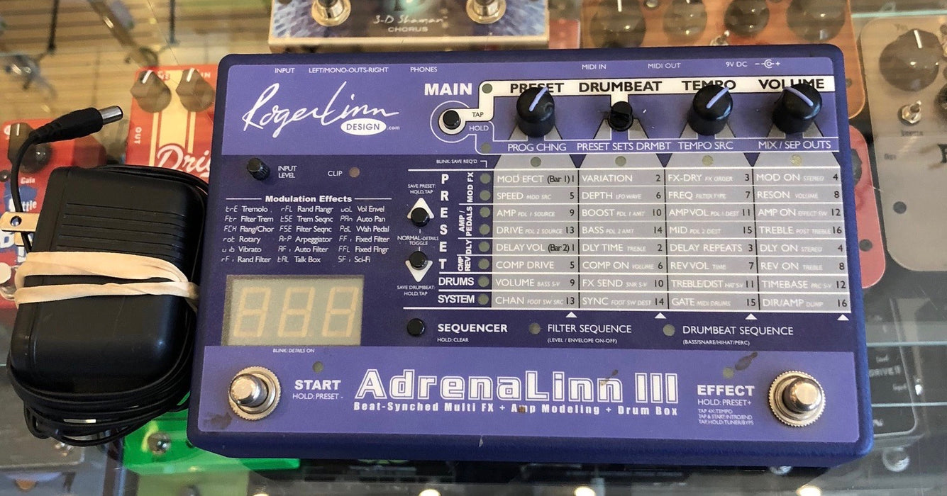 Used Roger Linn Adrenalinn III Effect Pedal With Power Supply