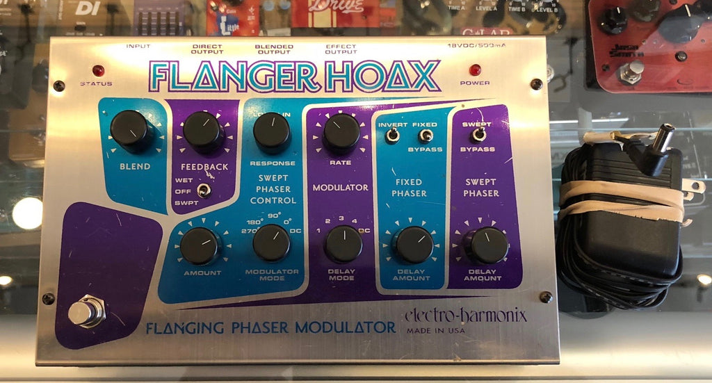 Used Electro Harmonix Flanger Hoax Guitar Effect Pedal With Box & Power Supply