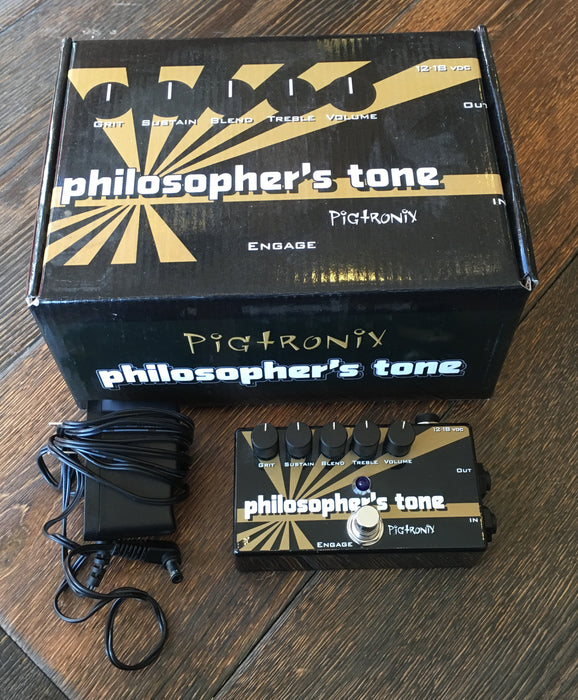 Used Pigtronix Philosophers Tone Compressor Guitar Effect Pedal With Box and Adapter