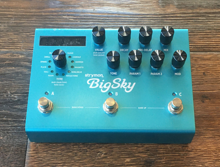 Used Strymon Big Sky Reverb Guitar Effect Pedal With Power Supply