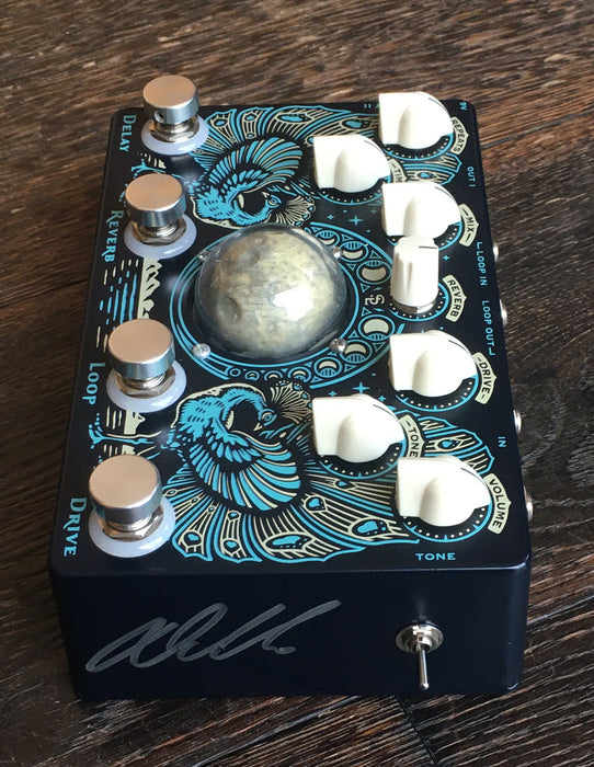 Used Dr. No Moon Canyon Overdrive Reverb Delay Multi-Effects Pedal With Box