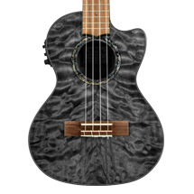 Lanikai QM-BKCET Quilted Maple Black Stain Tenor with Kula Preamp Acoustic Electric Ukulele