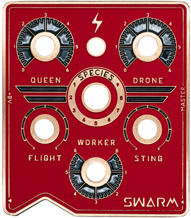 BeetronicsFX Standard Series Limited Run Swarm Black/Red/Gold Truetone Music Exclusive Color Fuzz Harmonizer Pedal