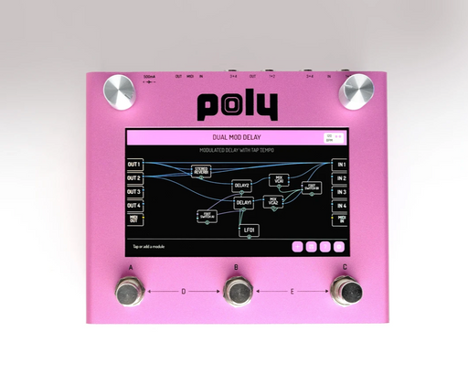Poly Effects Beebo Visual Multi Modulation and Quad Channel Delay/ Reverb/ Mixer/ Cab Simulator Pink Version
