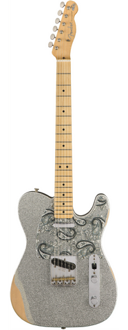 Fender Brad Paisley Road Worn Telecaster Siver Sparkle With Bag