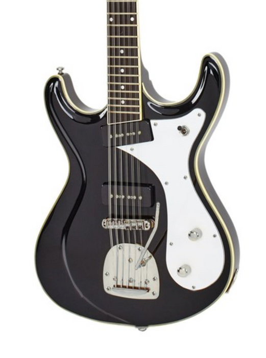Eastwood Sidejack Deluxe 12 String Black with Chrome Hardware