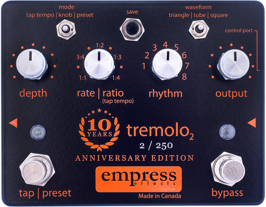 Empress Effects 10th Anniversary Edition Tremolo Guitar Effect Pedal