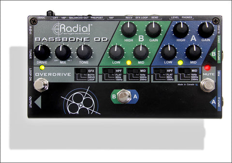 Radial Engineering Tonebone Bassbone OD 2 Channel Bass Preamp DI Bass Effect Pedal