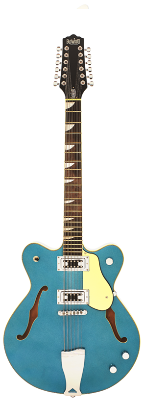 Eastwood Airline Classic 12 String Semi Hollow Guitar Metallic Blue