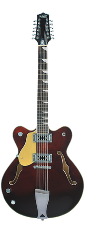 Eastwood Airline Left Handed Classic 12 String Semi Hollow Guitar Walnut