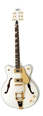 Eastwood Airline Classic 6 Deluxe Semi Hollow Guitar w/ Bigsby White