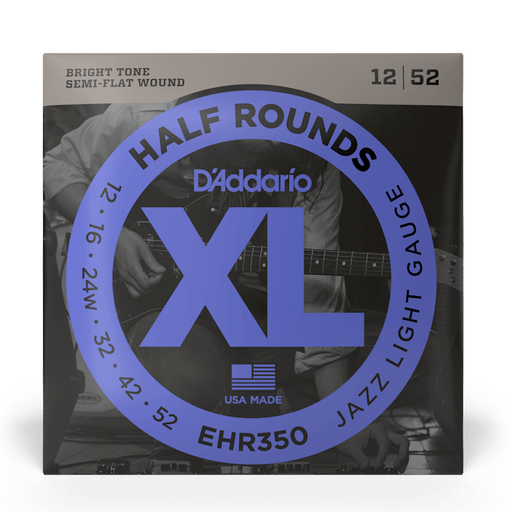 D'Addario EHR350 Set Guitar Half Round Jazz Light Strings