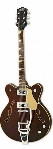 Eastwood Airline Classic 6 Deluxe Semi Hollow Guitar w/ Bigsby Walnut