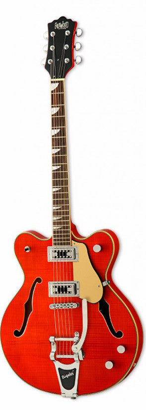 Eastwood Airline Classic 6 Deluxe Semi Hollow Guitar w/ Bigsby Orange
